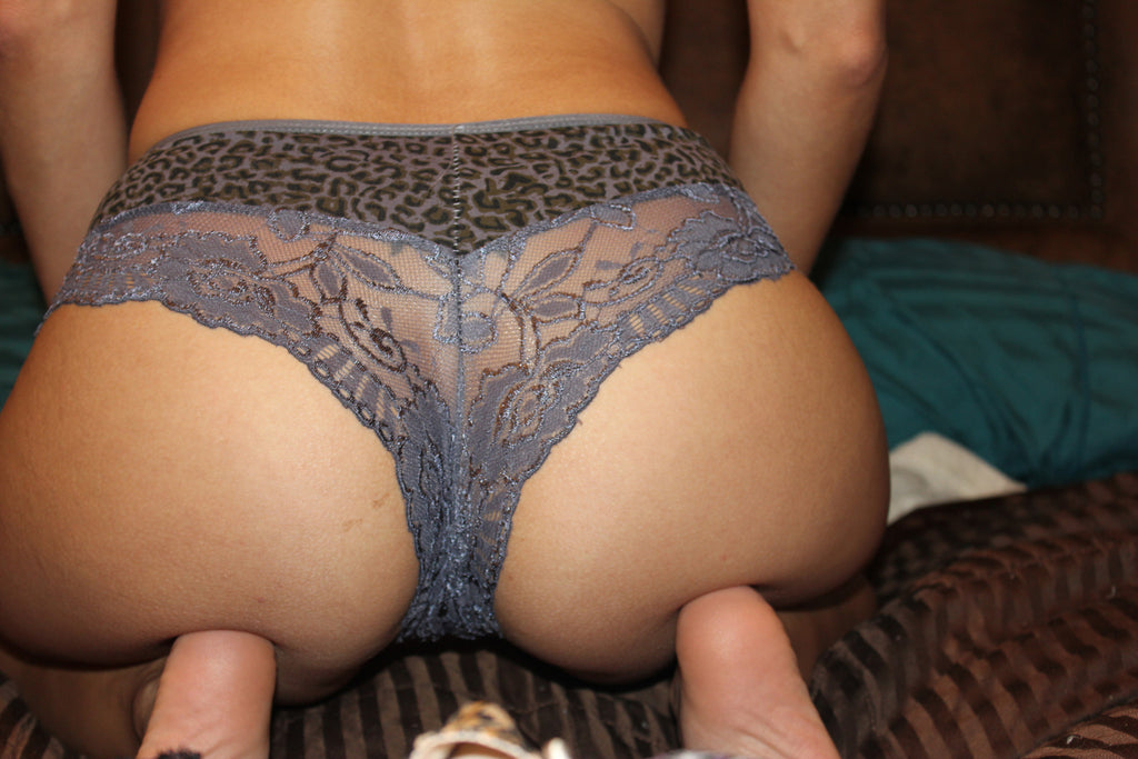 Danni Cole - Grey Animal Print Panty With Lace