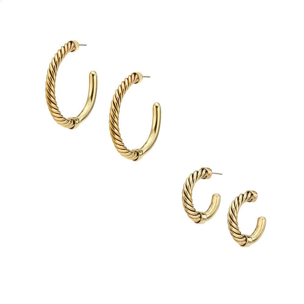 Uzi Mini Hoop Earrings + Uzi Hoop Earrings