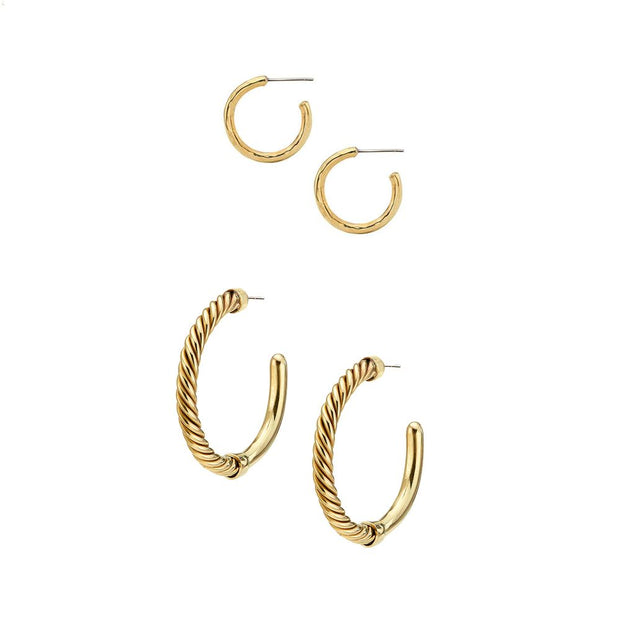 Uzi Hoop Earrings + Small Hammered Hoop Earrings