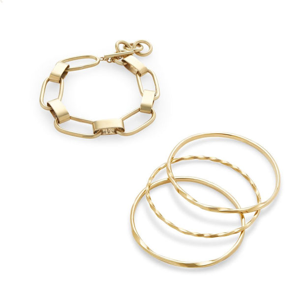 Twist Stacked Bangle Bracelets + Capsule Link Bracelet