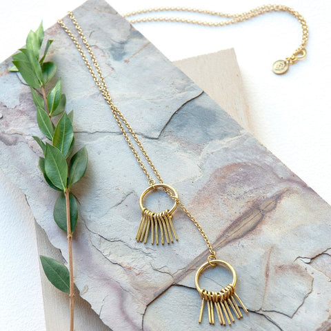 Fringe Hoop Lariat Necklace
