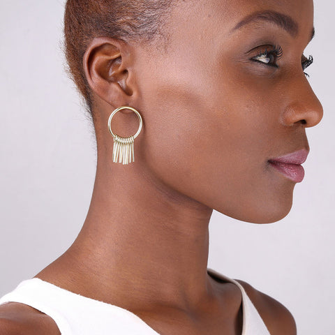 Circle Fringe Stud Earrings