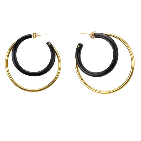 Mixed Material Gio Hoops