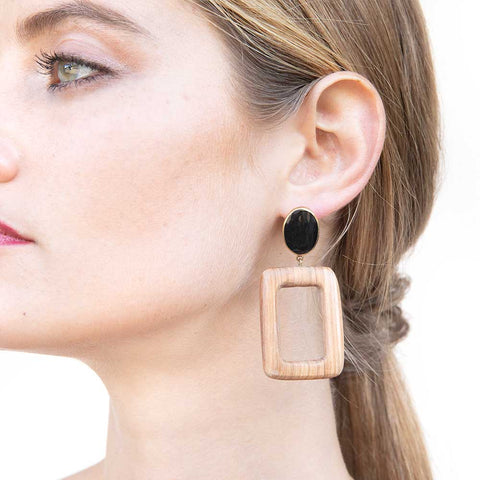 Olea Rectangle Horn and Wood Earrings