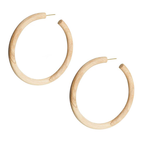 Arlie Maxi Wood Hoop Earrings