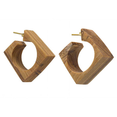 Arlie Squared Wood Hoop Earrings