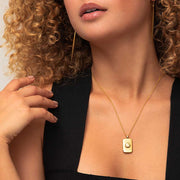 Bezeled Rectangle Medallion Necklace