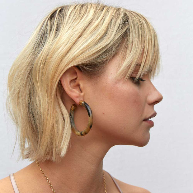 Capped Horn Hoop Earrings