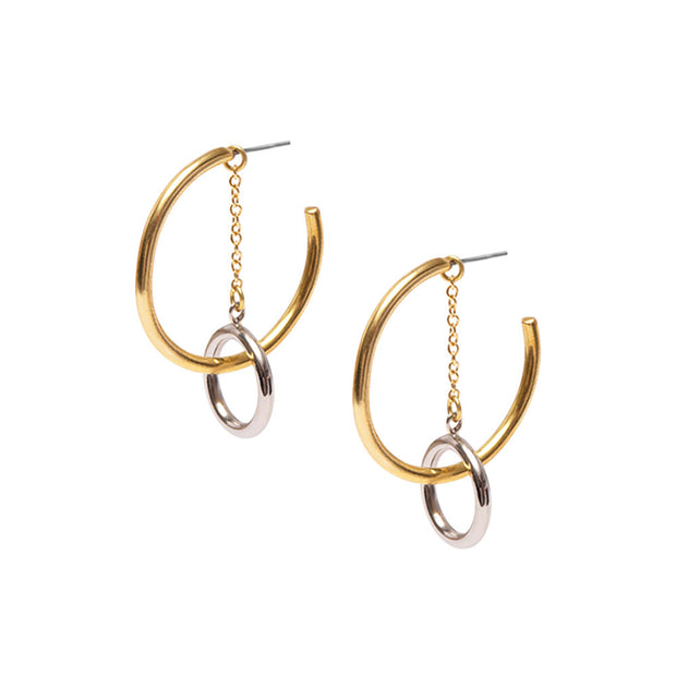 Fania Chain Double Hoop Earrings