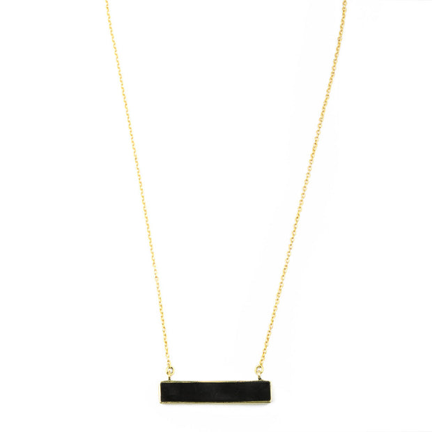 Horizontal Horn Bar Pendant Necklace
