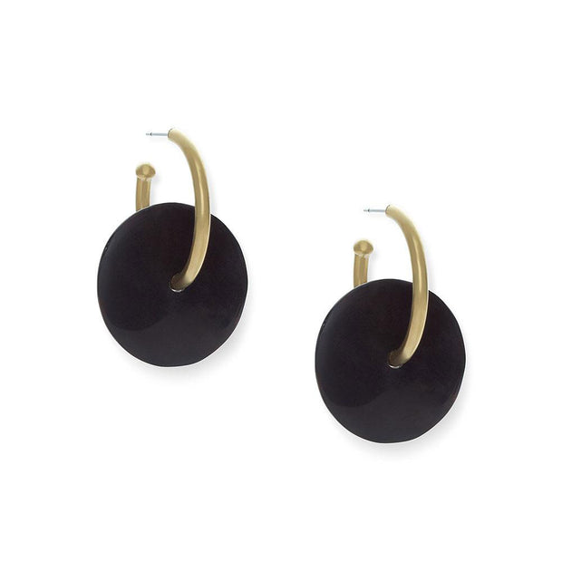 Horn Disc Hoop Earrings