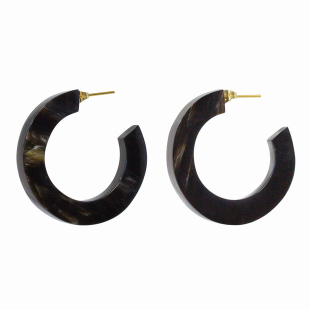 Horn Paddle Hoop Earrings