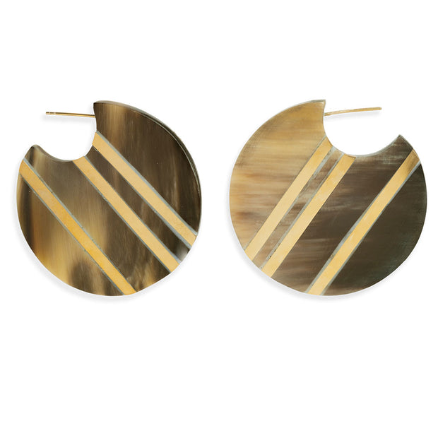 Horn Stripe Circle Hoop Earrings