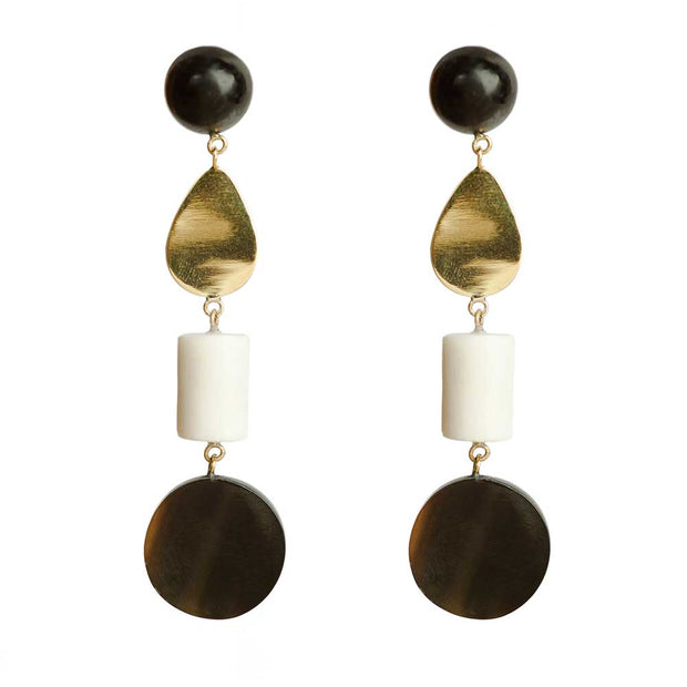 Luo Mixed Material Dangle Earrings