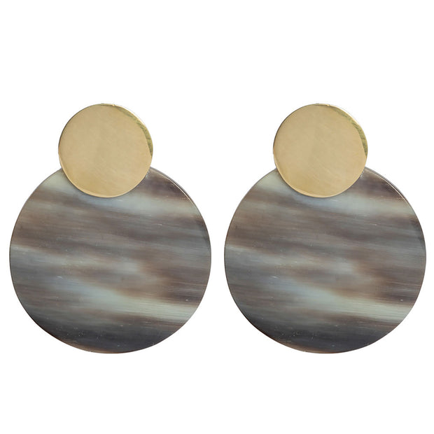 Maxi Coin Contrast Stud Earrings