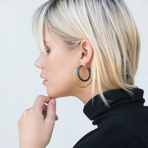 Mixed Material Gio Hoop Earrings