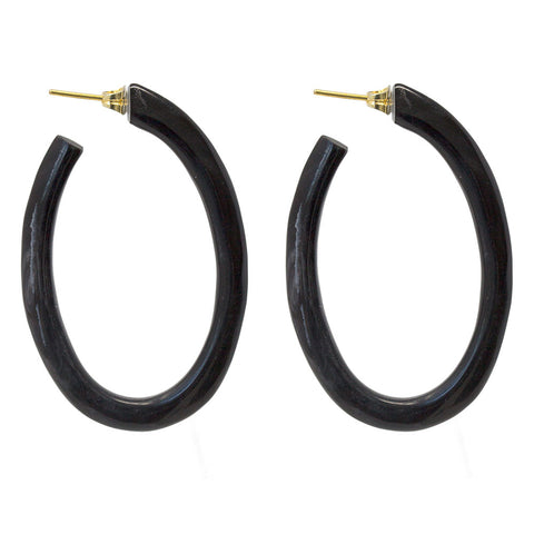 Oval Horn Hoop Earrings