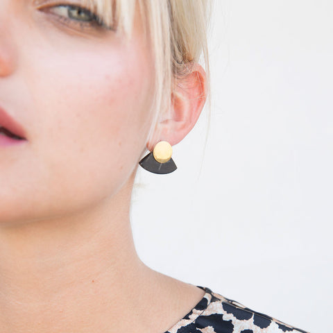 Petite Horn Paddle Stud Earrings