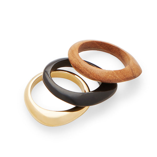 Sabi Mixed Material Stacked Rings