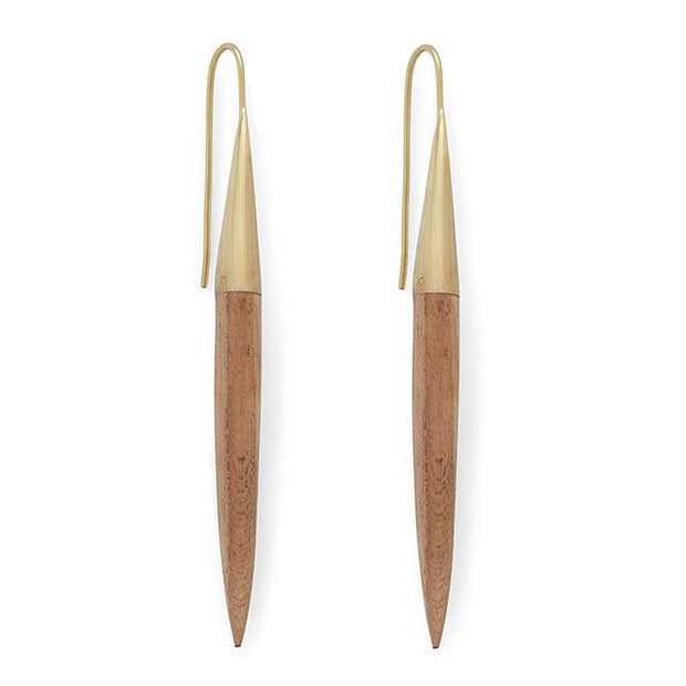Teak Quill Threader Earrings