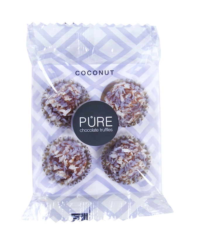 Pure Chocolade Truffels - On the go kokosnoot 4 stuks