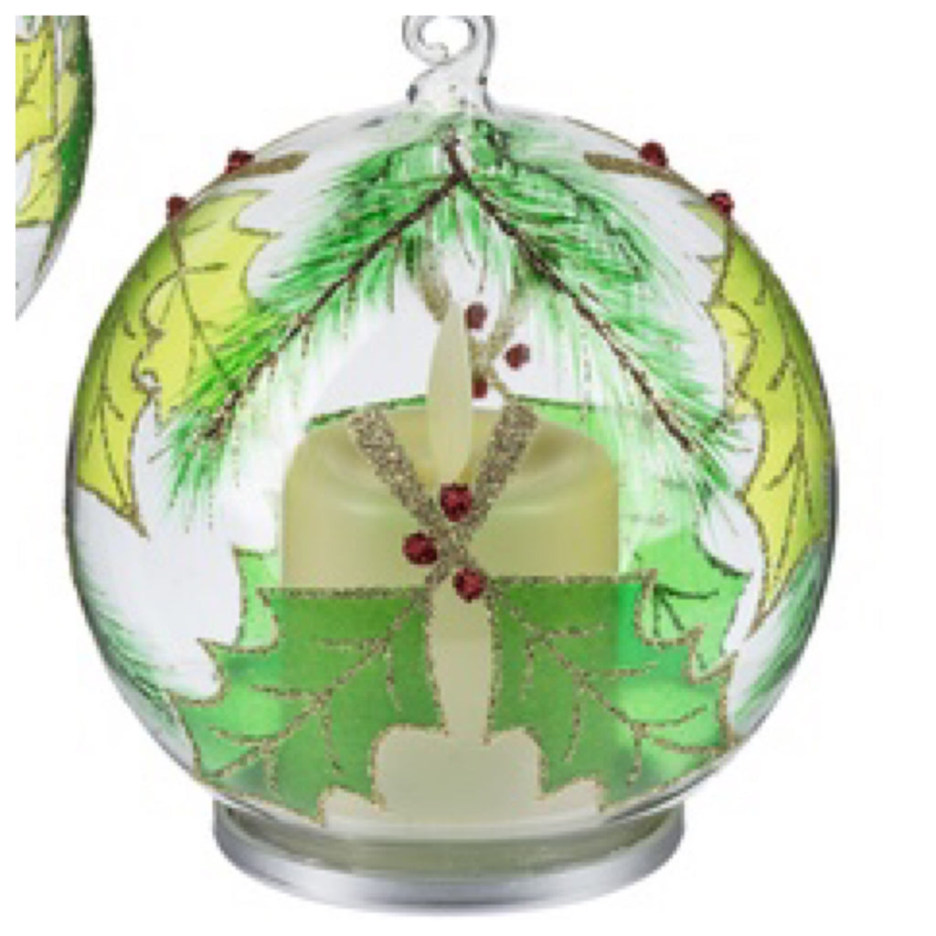 Holly and Pine Luxury Lite Flickering Flame Ornament by Ganz