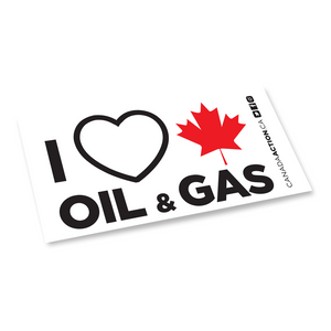 'I Love Canadian Oil & Gas' decal 4 pack