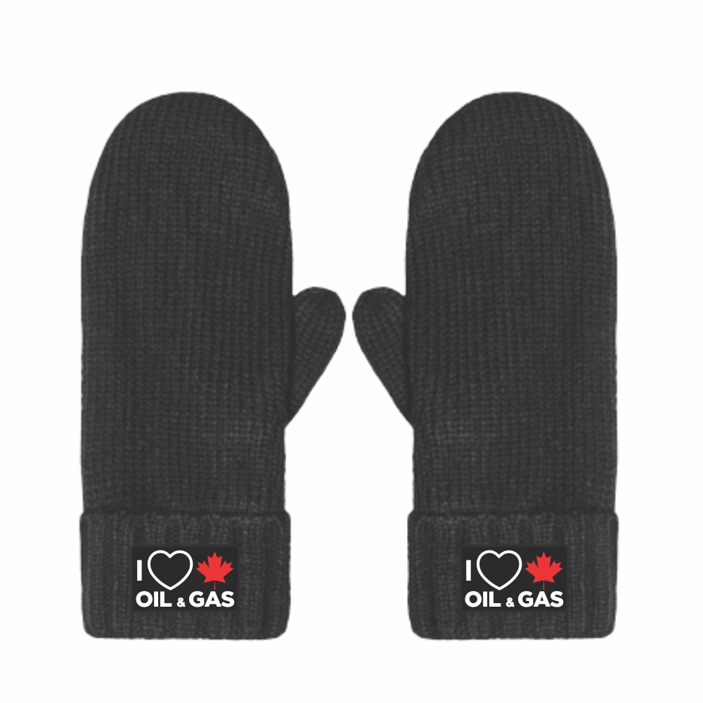 'I Love Canadian Oil & Gas' Chunky Knit Mittens
