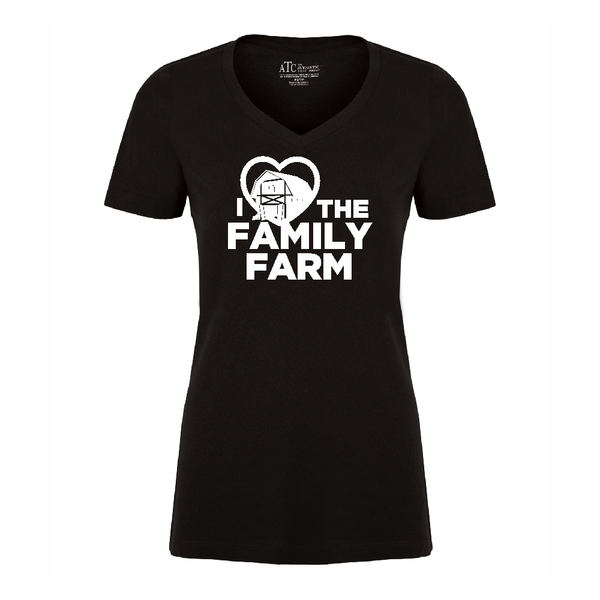 'I Love Family Farms' Women's V-Neck