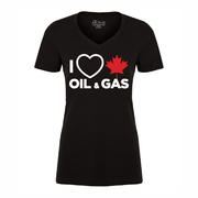 'I Love Canadian Oil & Gas' Women's V-Neck