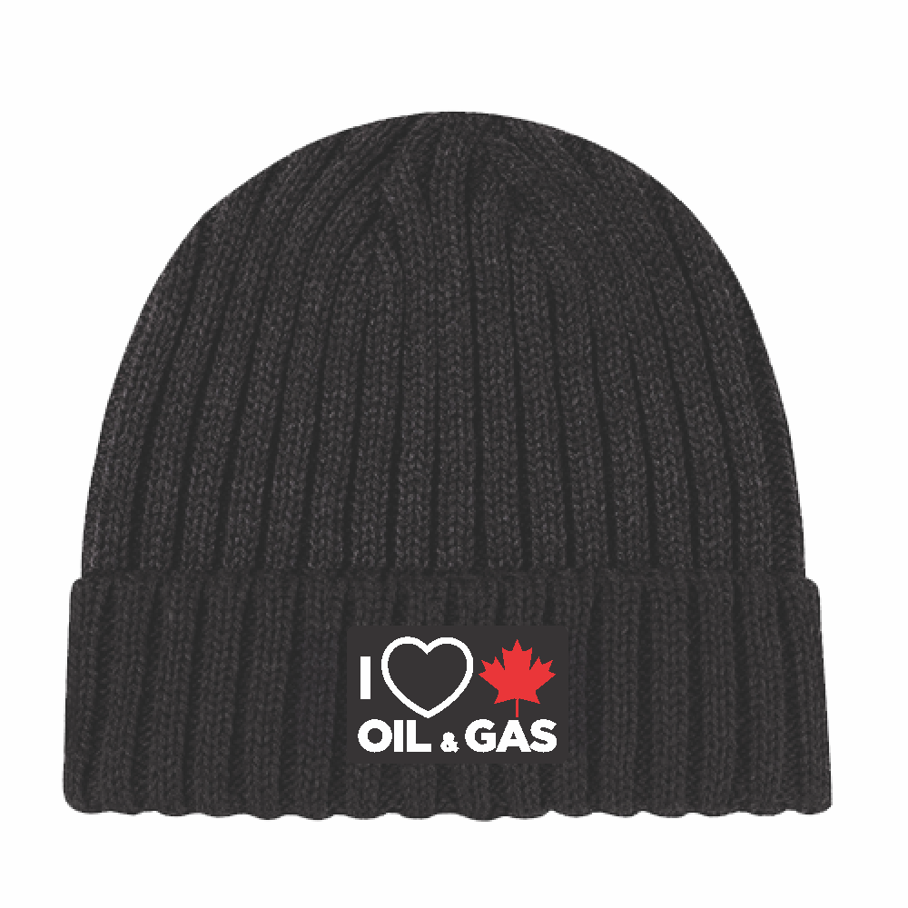 'I Love Canadian Oil & Gas' Chunky Waffle Knit Toque