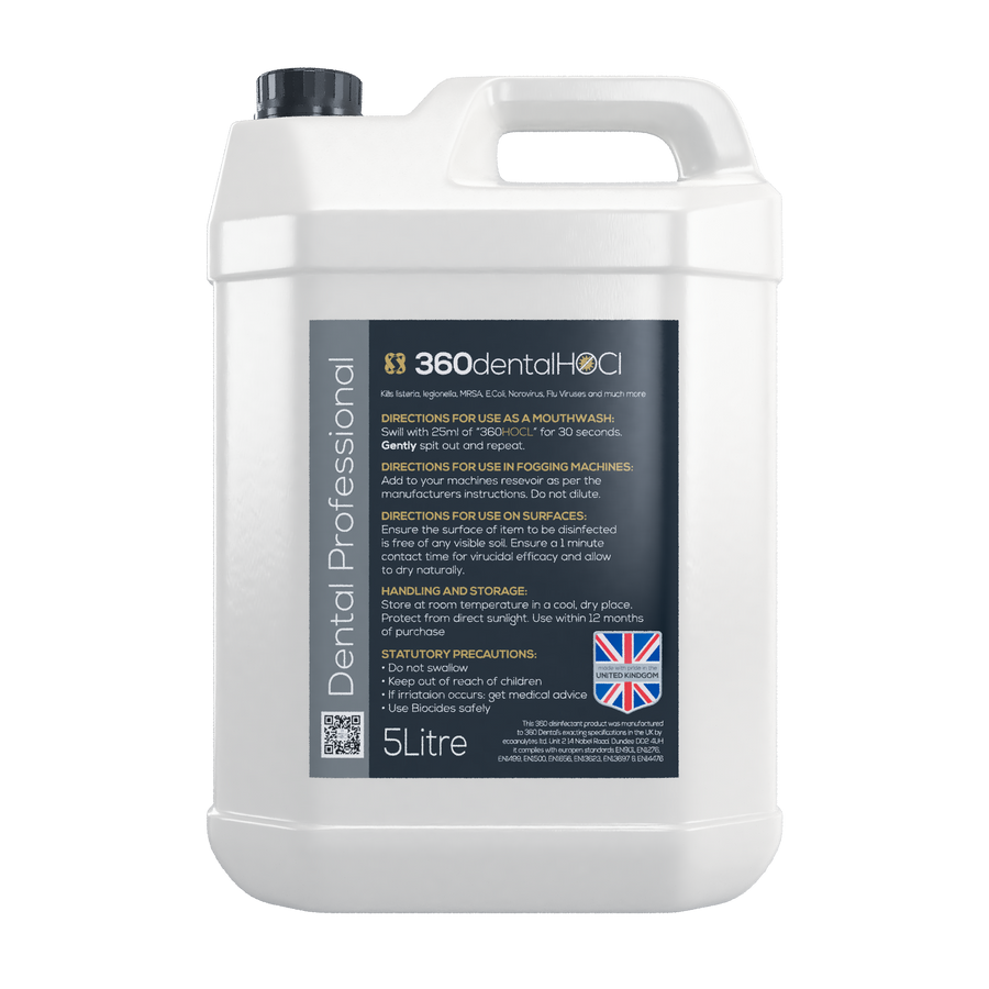 360 HOCl Multi Purpose Oxidising Biocidal Mouthwash/Surface Disinfectant/Fogging Solution