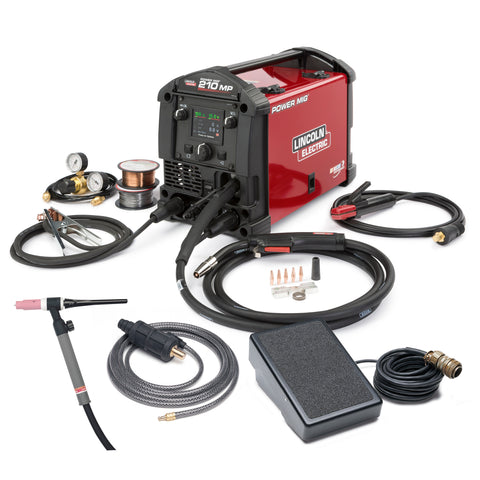Lincoln Power MIG 210MP Multiprocess Welder TIG One-Pak