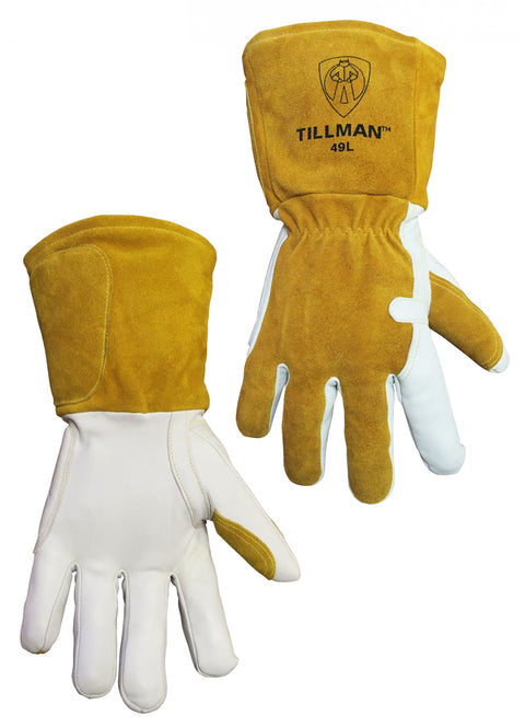 Tillman Fleece Lined Goatskin/Split Back MIG Welding Glove w/ Elastic - 49