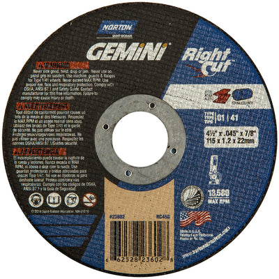 "Norton Gemini Cut-Off Wheel, 4-1/2"" x .045"""