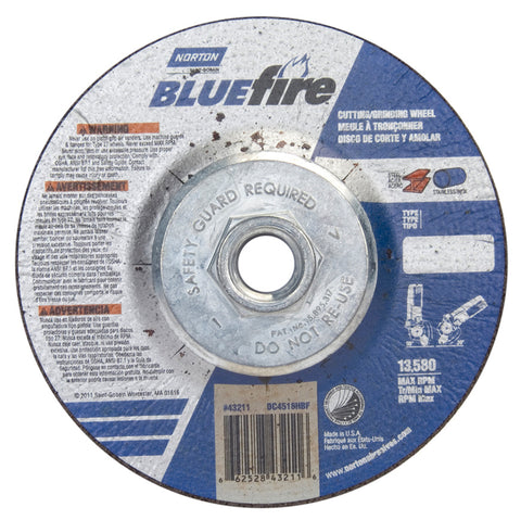 "Norton BlueFire Depressed Center Wheel, 4 1/2"" x 1/8"""