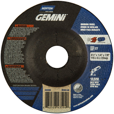 "Norton Gemini Depressed Center Grinding Wheel, 4-1/2"" x 1/4"""