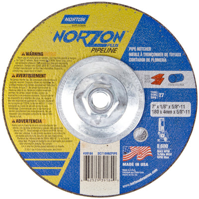 "Norton NorZon Plus Pipe Notcher Depressed Center Wheel, 7"" x 1/8"""