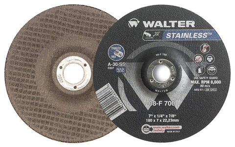 "Walter STAINLESS™ Grinding Wheel 7"" x 1/4"" x 5/8""-11 T27S GR:A30SS"