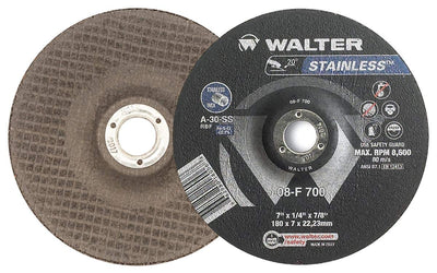 "Walter STAINLESS™ Grinding Wheel 7"" x 1/8"" x 7/8"" T27 GR:A30SS COMBO"