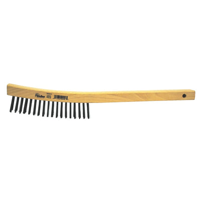 "Weiler 14"" Stainless Scratch Brush Curved Wood Handle"