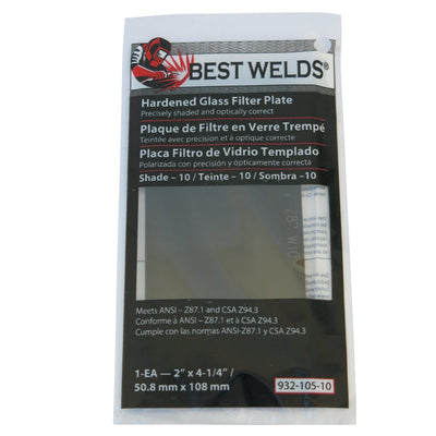"Best Welds Glass Filter Plate 2"" x 4-1/4"" Shade 10"