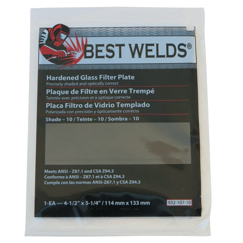 "Best Welds Glass Filter Plate 4-1/2"" x 5-1/4"" Shade 10"