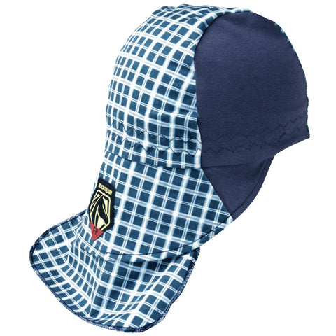 Black Stallion® FR Cotton Welding Cap with Hidden Bill Extension, Navy/Gray