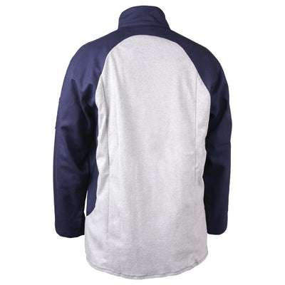 Black Stallion Stretch-Back FR Cotton Welding Jacket, Navy with Gray Stretch Panel