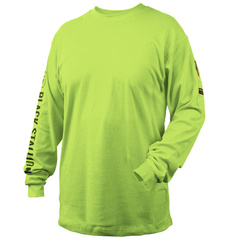 Black Stallion NFPA 2112 & NFPA70E 7 oz. FR Cotton Knit Long-Sleeve T-Shirt, Safety Lime