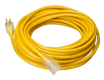 Direct Wire 12/3 Extension Cord Lighted Yellow - Choose Your Length