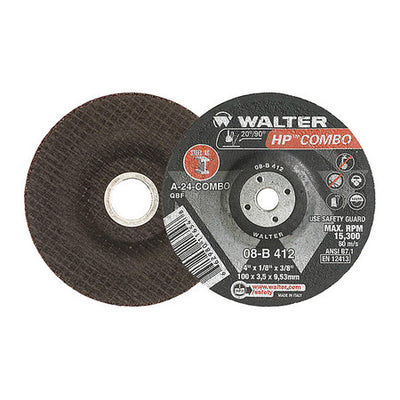 "Walter HP COMBO™ Grinding Wheel 4"" x 1/8"" x 3/8"" T27 GR: A24COMBO"