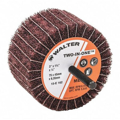 "Walter TWO-IN-ONE™ Flap Wheels Sanding Wheel 3"" x 1-3/4"" x 1/4"" GR: MEDIUM"
