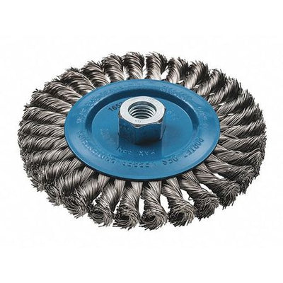 "Walter Wide Wheel Brush Knot-Twisted Wire 6"" x 3/8"" x 5/8""-11  Stainless & Aluminum"